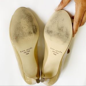 kate spade Shoes - Kate Spade Nude Patent Leather Open Toed Heels